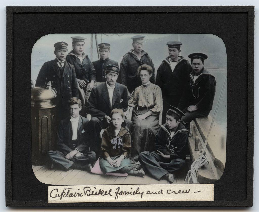 Lantern_slide_Captain_Bickel_family_and_crew